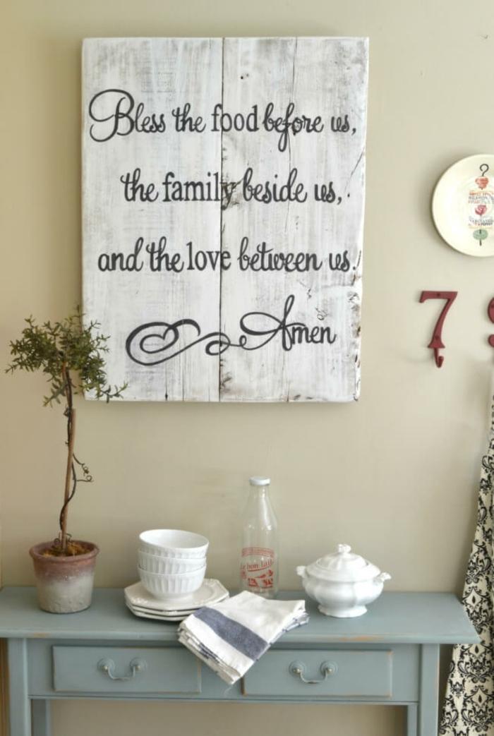 eine religiöse Tabelle, weißer Hintergrund mit schwarzen Buchstaben, Küchenwand gestalten
