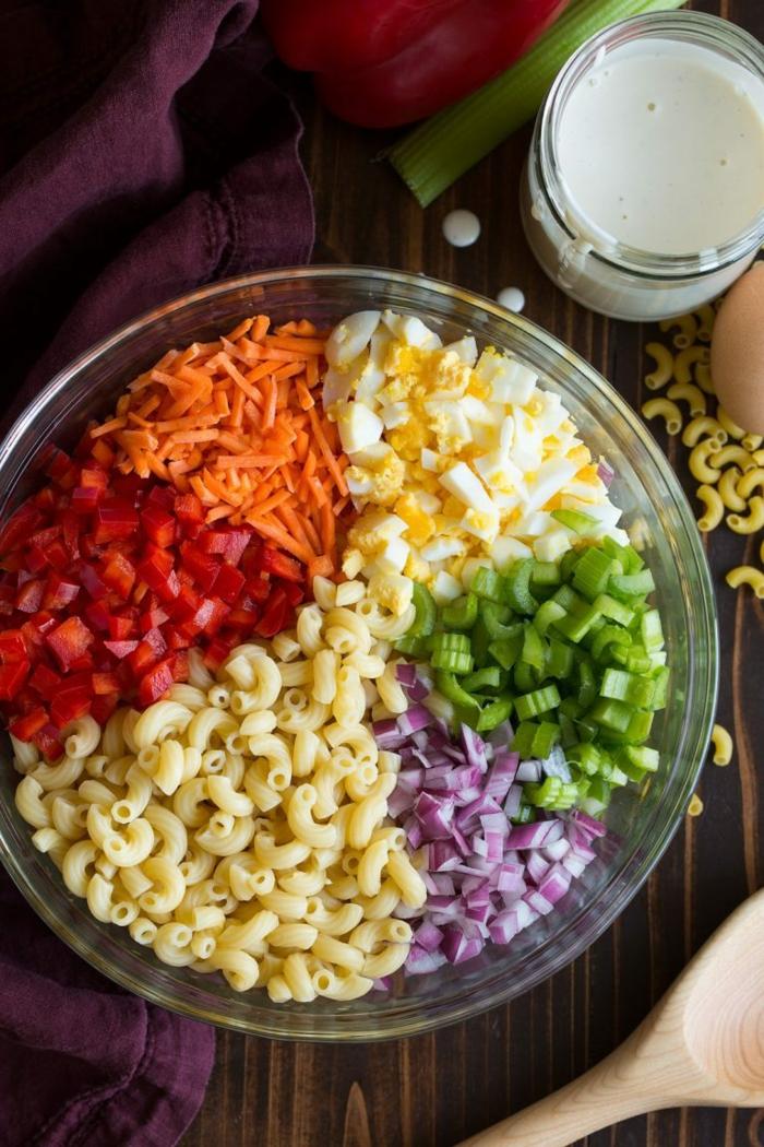 wie die Zutaten eines Salats aussehen, bevor sie gemischt werden, schnelle Salate