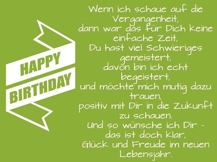 weiße lange happy birthday schleife, ein grünes bild mit einem geburtstagswunsch für einem mann