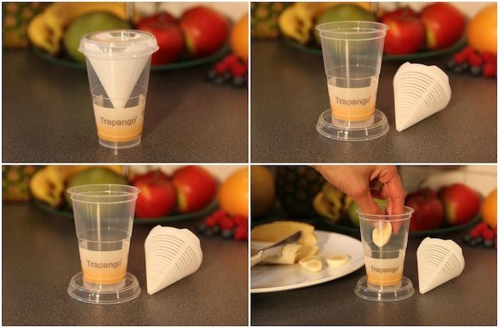 eine diy anleitung in vier schritten, eine fruchtfliegenfalle bauen, ein glas und ein kleiner weißer trichter, ein weißer teller mit einem messer und mit einer gelben banane, eine hand und rote äpfel und erdbeeren