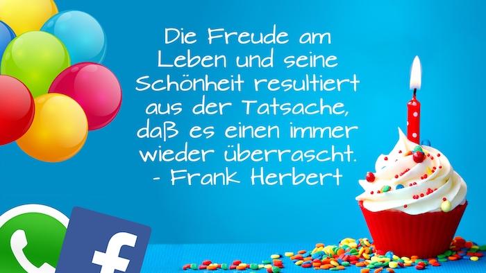 ein zitat von frank herbert, ein kleiner roter muffin mit sahne und mit einer roten kerze, witzige geburtstagswünsche, viele bunte ballons, facebook und whatsapp