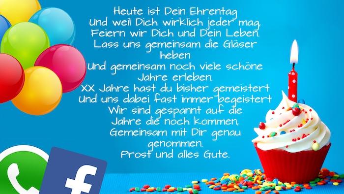 ein kleiner roter muffin mit sahne und einer roten kerze, lustige geburtstagswünsche mann, facebook und whatsapp logos und viele ballons, geburtstagswünsche bilder für männer