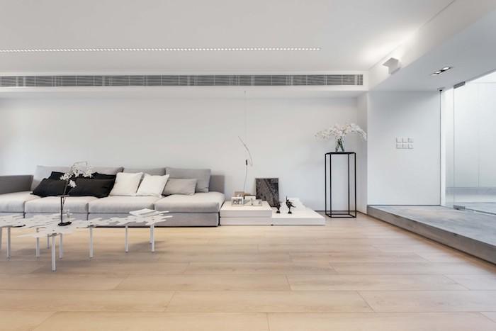 ein boden aus holz und ein großes wohnzimmer mit einem grauen sofa mit grauen, schwarzen und weißen kissen und grauen wänden mit lampen und kleinen tischen, eine wohnung einrichten