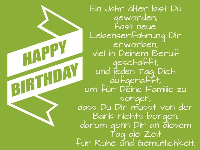 grünes bild mit einem langen geburtstagswunsch und mit einer weißen langen happy birthday schleife, coole geburtstagswünsche bilder für männer