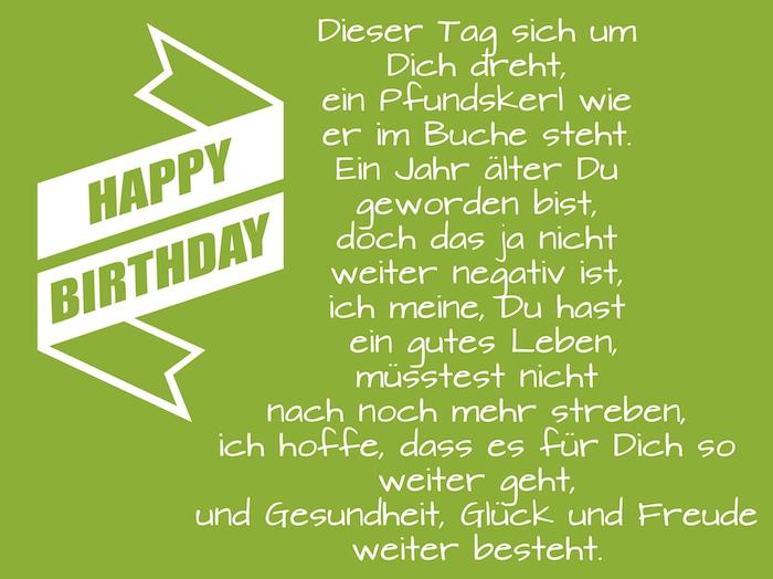 eine weiße lange happy birthday schleife, coole geburtstagswünsche bilder für männer, ein lustiger geburtstagsspruch, ein grünes bild