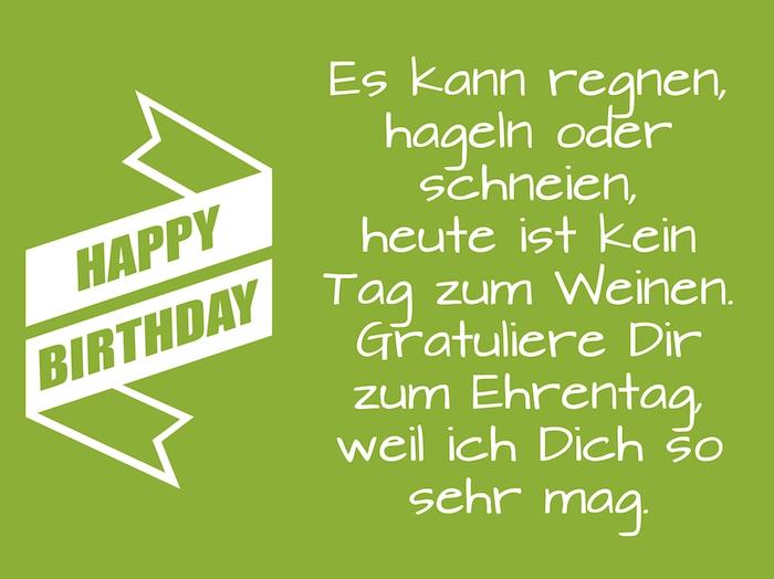 grünes bild mit einem geburtstagswunsch für einen mann und mit einer großen weißen happy birthday schleife, geburtstagswünsche männer