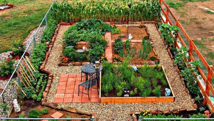 günstige Gartengestaltung Ideen, ein Gartenweg mit Kies, selbstversorger Garten mit Gemüse