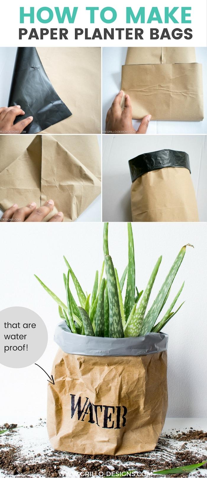 eine weiße wand und ein kleiner glas mit einer alten braunen papiertüte, eine bastelanleitung papioertüten selber machen, ein blumentopf mit einem grünen kaktus