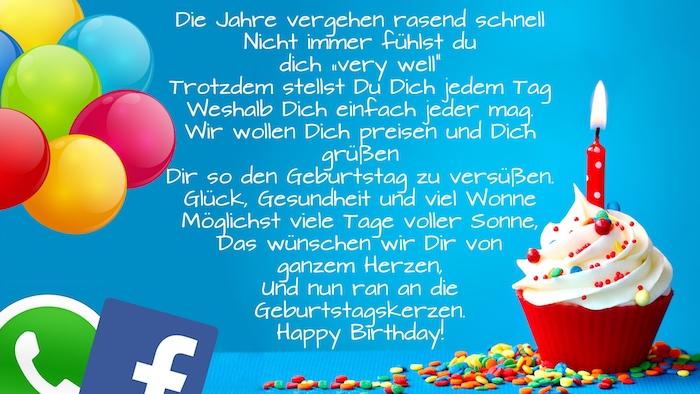 ein kleiner roter muffin, geburtstagswünsche bilder, ein bild mit einer roten kerze und mit bunten ballons, geburtstagswünsche whatsapp und facebook