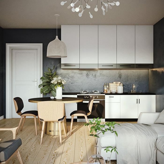 Wandfarbe Grau kombinieren, weiße Regale, Laminat Boden, runder Tisch