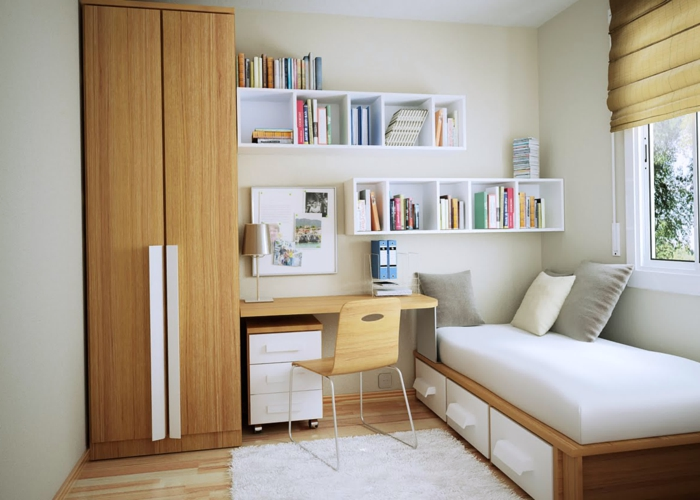 ein kleines Bett in der Ecke, weißer Regalsystem, kleiner Schreibtisch, Jungendzimmer Ideen für kleine Räume