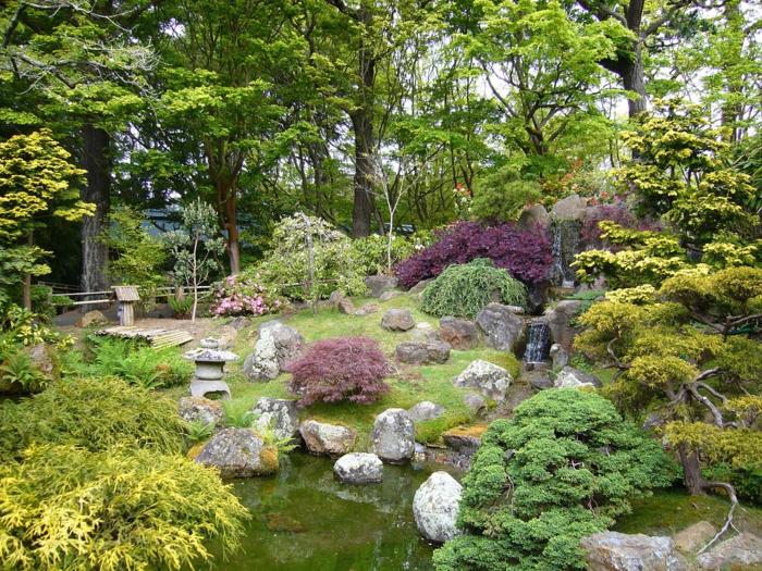 lila Blumen, grüner Rasen, ein Teich, Garten Ideen günstig, kleine Zierbäume, kleiner Zaun