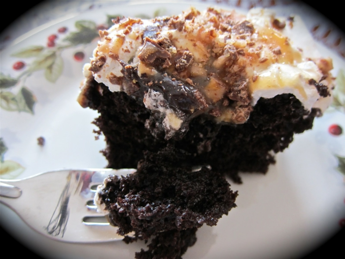 ein leckeres Stück Torte mit viel Schokolade, Toffifee Krümmel, Toffifee Kuchen