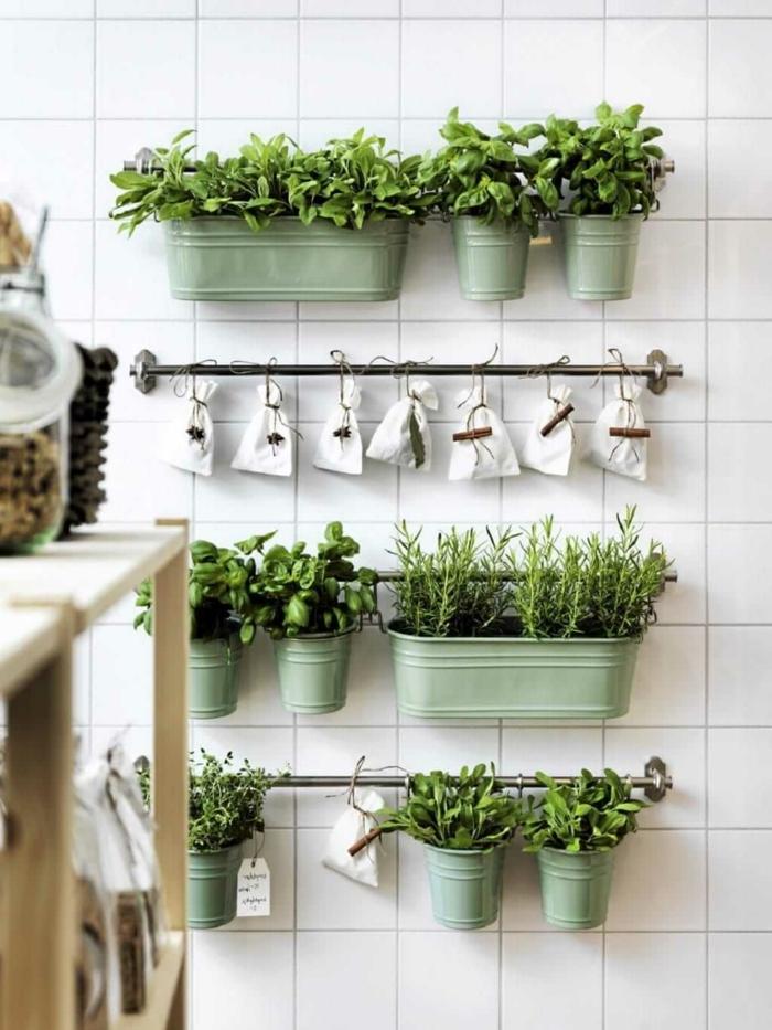 grüne Beete und kleine weiße Tüten, ein vertikaler Garten, grüne Küchenwand