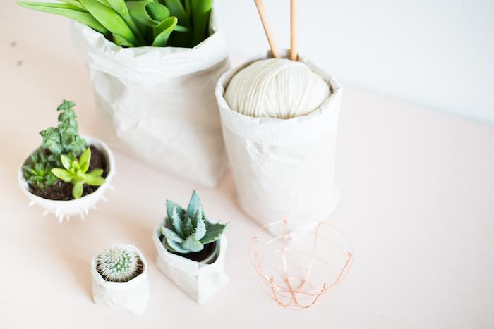 ein weißer faden und kleine weiße blumentöpfe mit weißen papiertüten und mit grünen pflanzen und kaktus mit grünen blättern