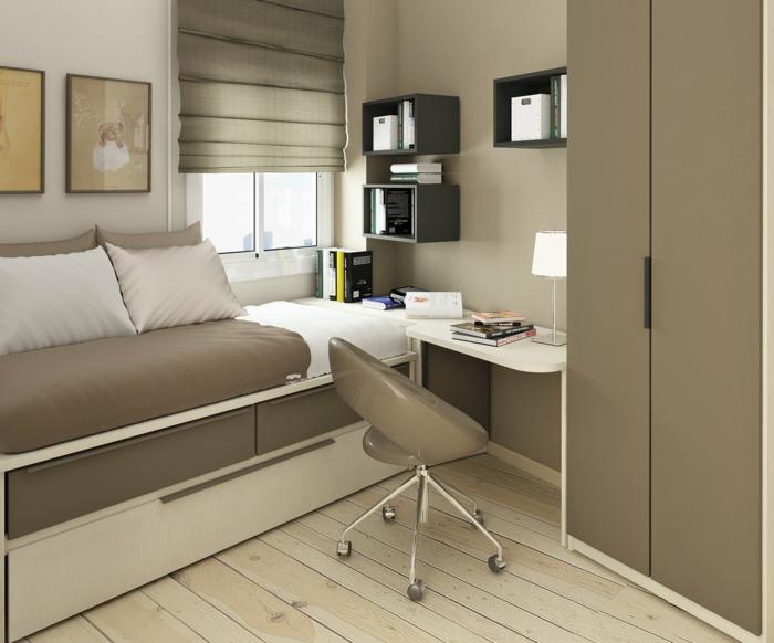 Laminat Boden, kleines Bett und großer Schrank, Jugendzimer Ideen für kleine Räume