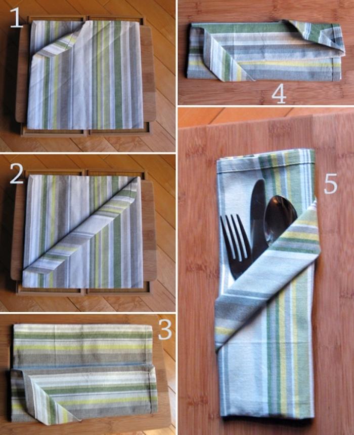 servietten falten anleitung in fünf schritten, eine gefaltete bestecktasche mit einem messer, einem löffel und einer gabel aus metall