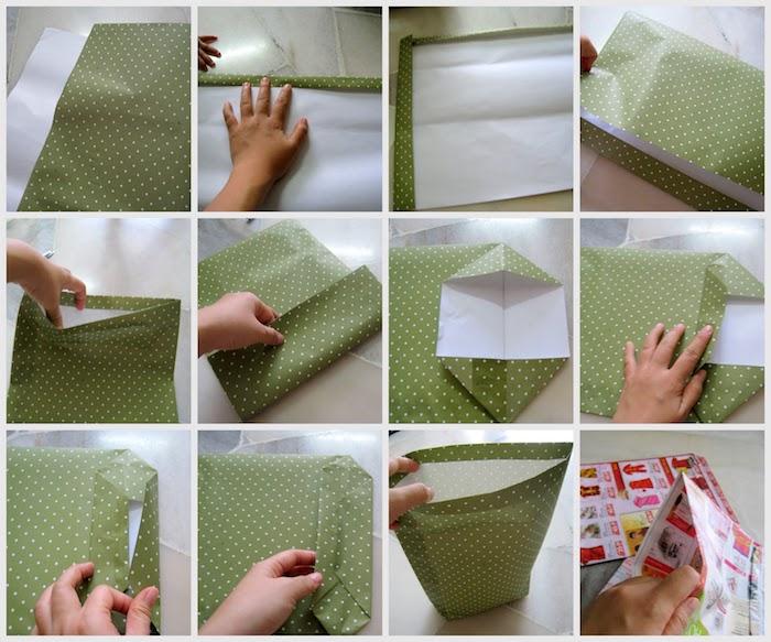 eine tüte aus einem grünen papier mit vielen kleinen weißen punkten und hände, eine ppaiertütebasteln ohne kleben, eine diy schritt für schritt anleitung