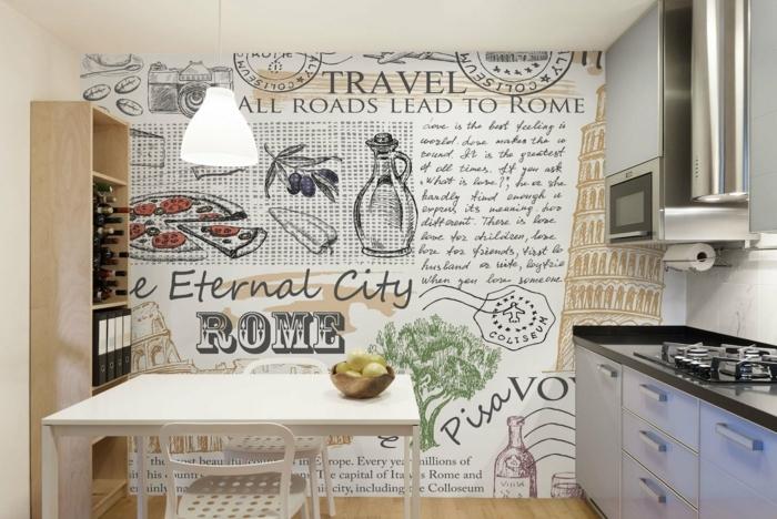 Wandtattoo Küche, eine Küchenwand mit vielen Aufschriften über Rome