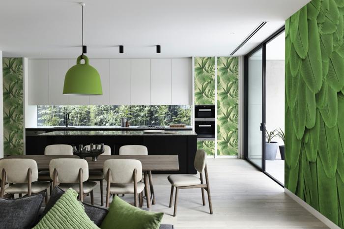 Bringen Sie die Natur in die Küche mit diesem grünen Wandtattoo Küche