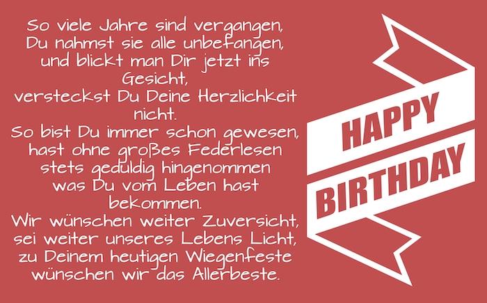 eine lange weiße große schleife happy birthday, ein rotes bild mit einem geburtstagswunsch für einen mann