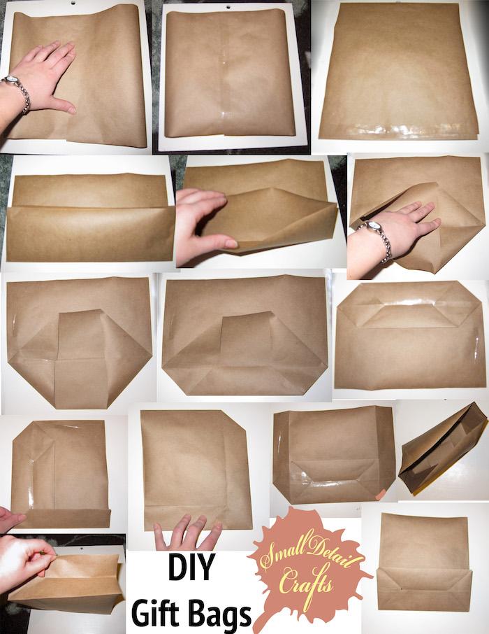 eine hand mit einer kleinen uhr, eine schritt für schritt bastelanleitung, eine große tüte aus einem alten braunen papier selber machen, basteln mit papier