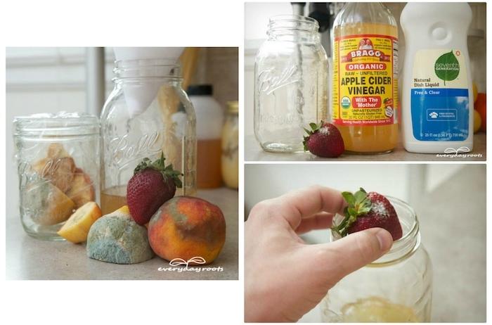 eine hand mit einer roten erdbeere mit grünen blättern, fruchtfliegenfalle hausmittel, ein großer glas mit einem gelben apfelessig,