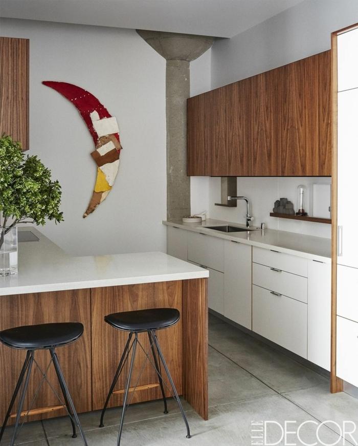eine Küche mit viel natürliches Holz, Zimmer einrichten Ideen für kleine Räume
