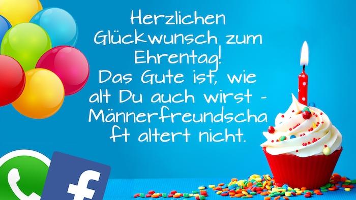 violette, gelbe, grüne und blaue ballons, kurze geburtstagswünsche, ein kleiner roter muffin mit einer roten kerze und sahne, geburtstagswünsche whatsapp