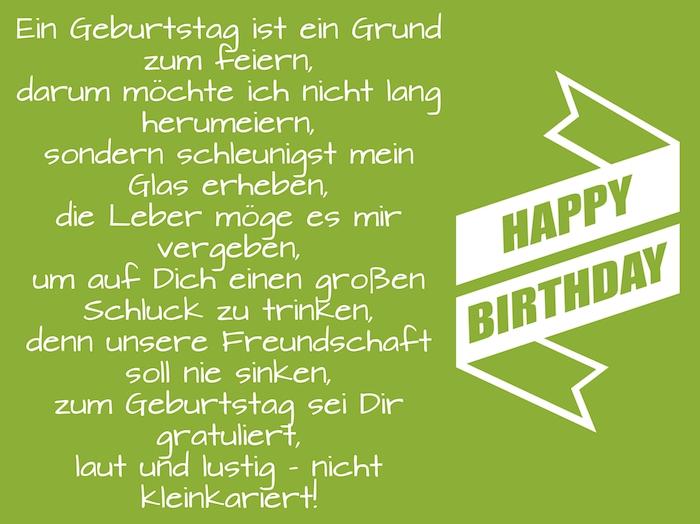 ein grünes bild mit einem langen geburtstagswunsch, eine große lange weiße happy birthday schleife