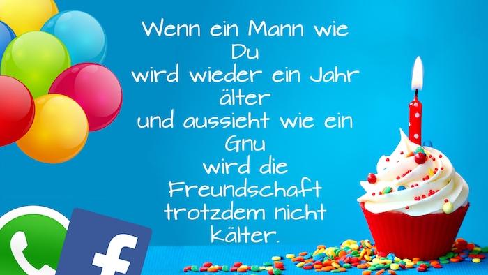 viele blaue, gelbe, orange und rote ballons, geburtstagswünsche whatsapp und facebook, ein kleiner roter muffiun mit sahne und mit einer kleinen roten kerze