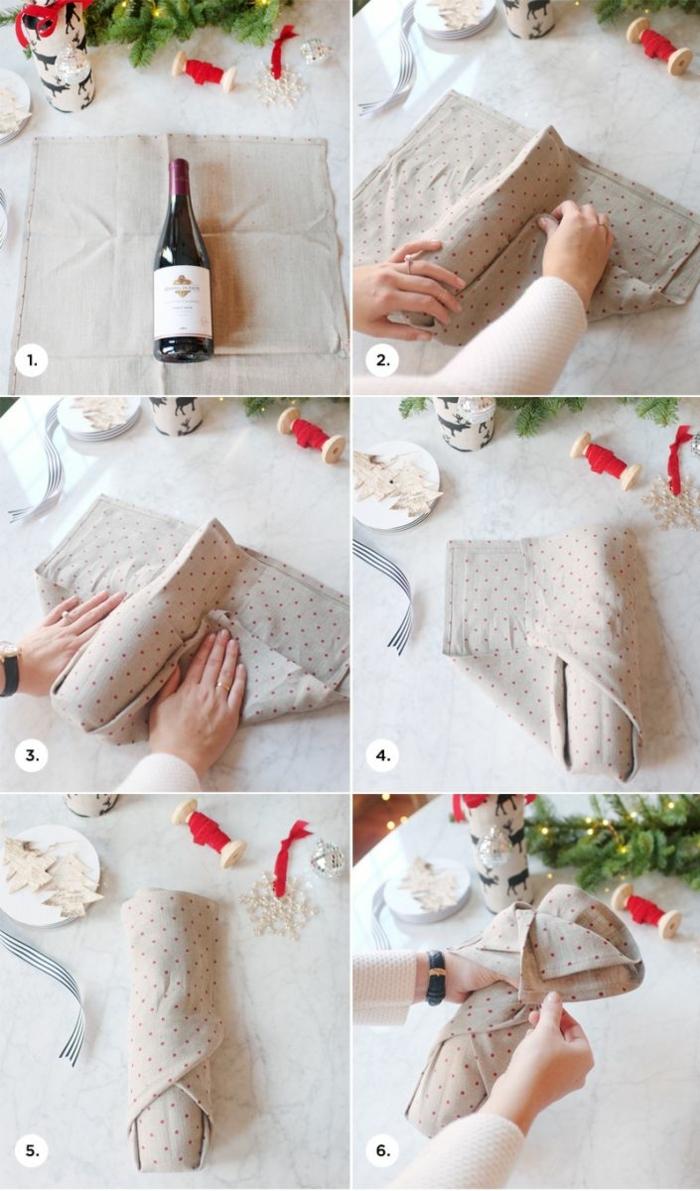 eine Anleitung aus sech Schritte, wie Sie eine Flasche als Geschenk verpacken