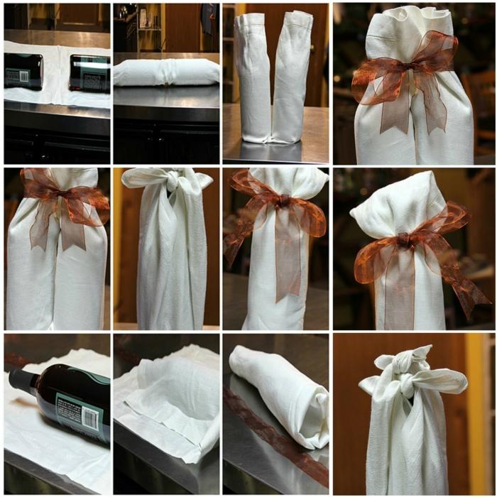 drei Wege, dass Sie eine Flasche verpacken mit einem weißen Tuch, orange Schleife