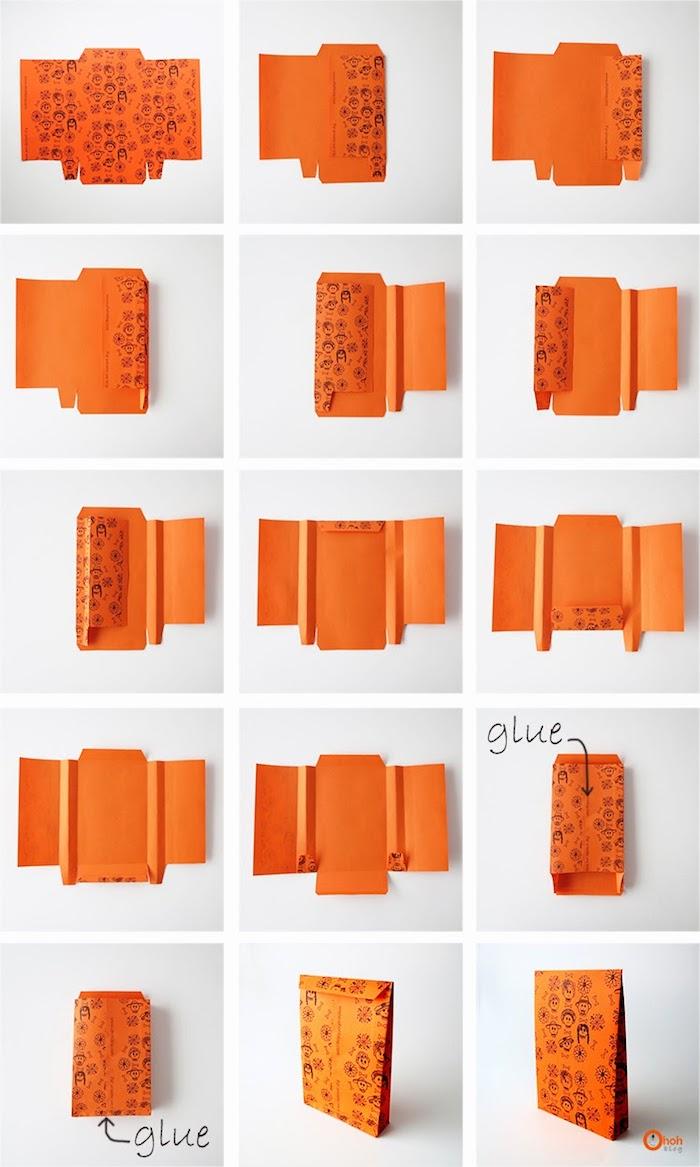 eine diy schritt für schritt anleitung, eine kleine orange papiertüte basteln, basteln mit papier, ein weißer tisch