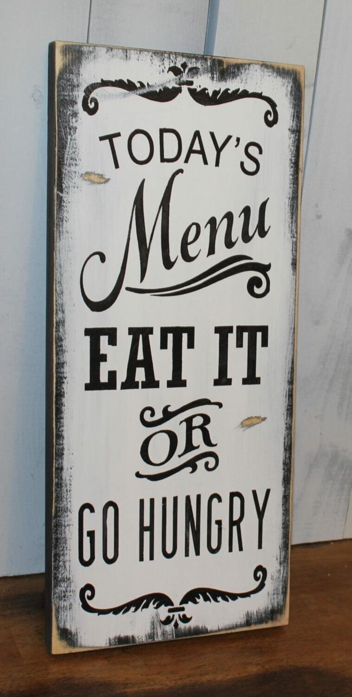 eine weiße Tabelle mit schwarzen Buchstaben, eine Warnung vor wählerischen Essern, Wanddekoration Ideen