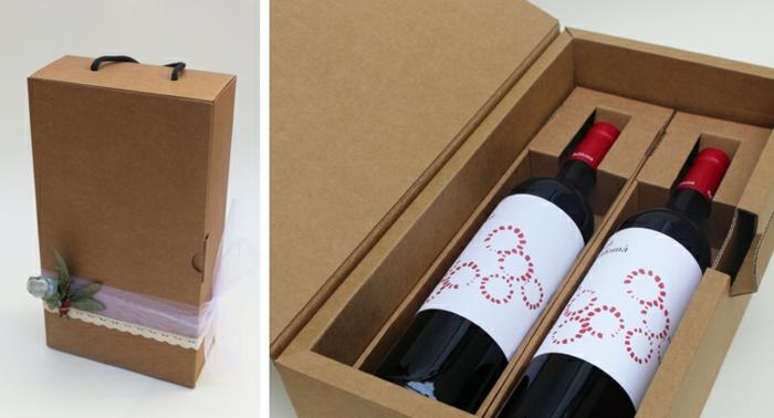 Weinflasche verpacken, eine überraschende Verpackung mit zwei Weinflaschen