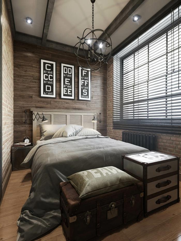 ein kleines Schlafzimmer, kleine Räume optisch vergrößern, graue Einrichtung