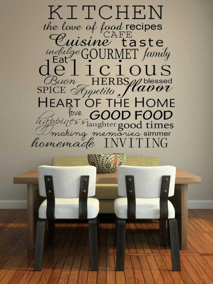 Wandtattoo mit Adjektive zu der Küche, ein Laminatboden, Wanddekoration Ideen