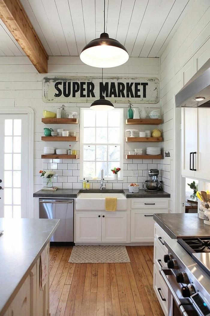eine Aufschrift Supermarkt steht über dem Fenster, Regale aus Holz, Wanddekoration Ideen