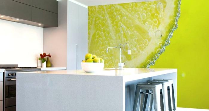 eine bildschöne Darstellung von Zitrone, eine grüne Wand, Wandtattoo Küche