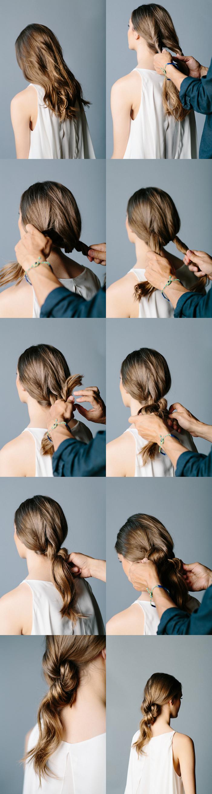frau mit weiter weißer bluse, einfache frisuren für den alltag, frisuren zum selbermachen