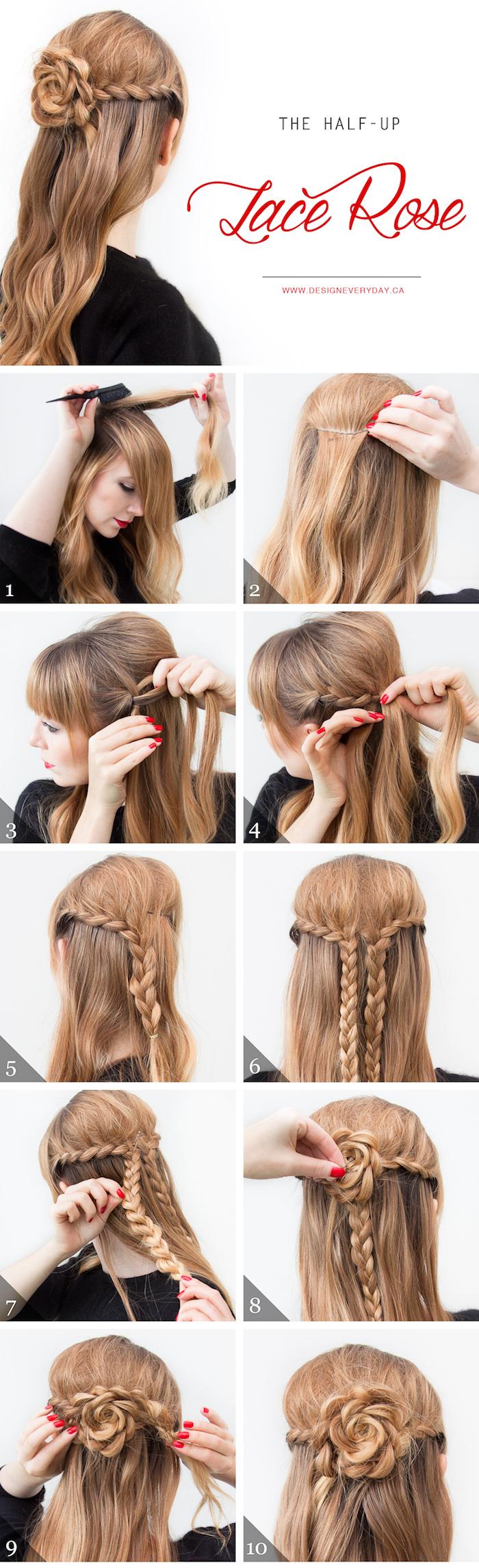 einfache frisuren für den alltag, honigfarbene lange haare, rose aus haare stylen, ponyfrisur