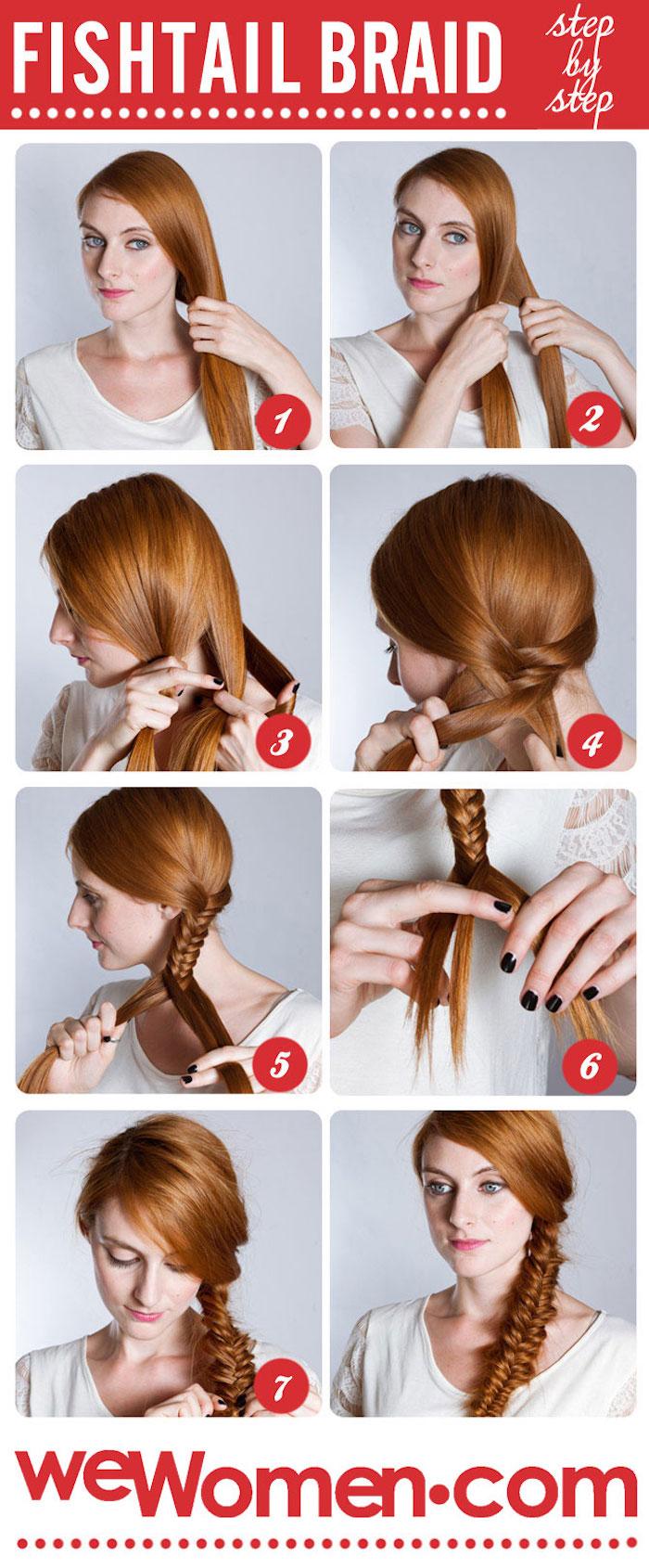 einfache frisuren für den alltag, rote haare, make up für blaue augen, seitenzopf binden