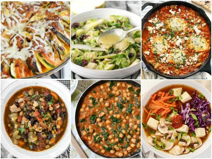 abendessen low carb, collage mit sechs gekochte speisen ideen zum einfache und gesunde speisen