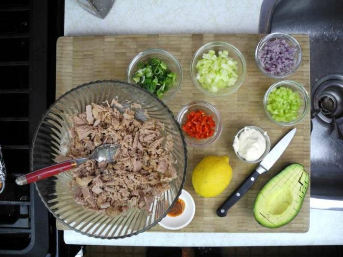 abendessen low carb, tunfisch rezept idee mit gehacktem gemüse paprka, avocado, zwiebel, zitrone