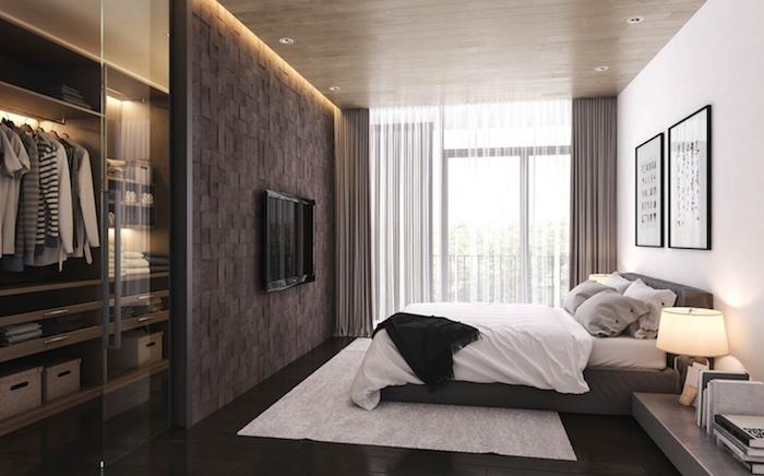 schlafzimmer ideen braun wand, weiße wand, wanddeko, fernsehwand, kleiderschrank, kleidung, wandbilder