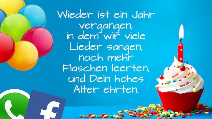 muffin mit einer kleinen roten kerze und mit sahne, viele bunge ballons, logos von facebook und whatsapp, ein kurzer lustiger geburtstagsspruch