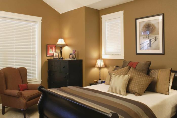 feng shui schlafzimmer design ideen zum nachmachen, beige und braun zimmerfarben, farbgestaltung