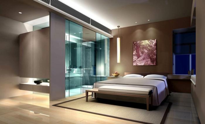 elegantes zimmerdesign, luxuszimmer mit bad, feng shui schlafzimmer, wanddeko, bild, dekoration, doppelbett