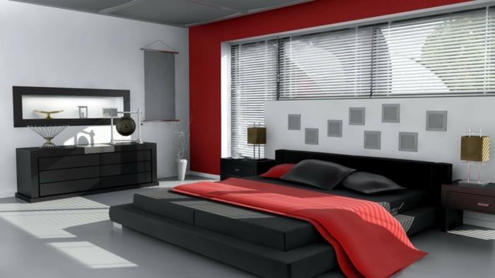 schlafzimmer bett in schwarzer und roter farbe, zimmerdesign klassische farbkombinationen, rot schwarz weiß